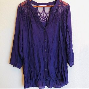 Maurice's Purple Lace Button Down